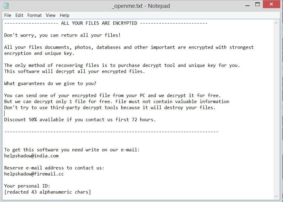 stop djvu ransomware note openme.txt