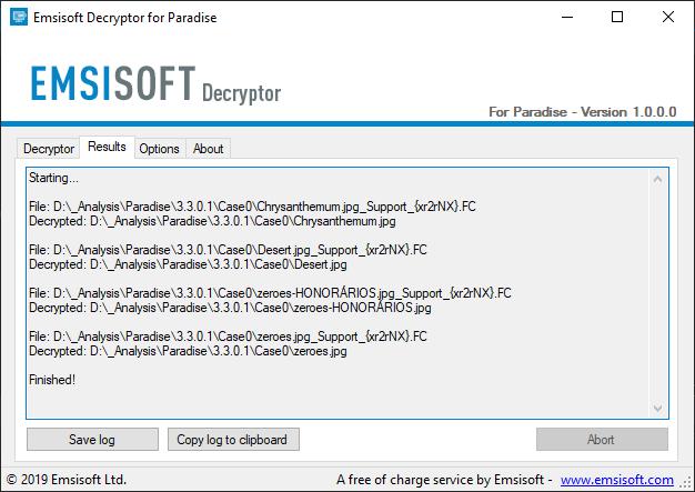 paradise ransomware decryptor decryption
